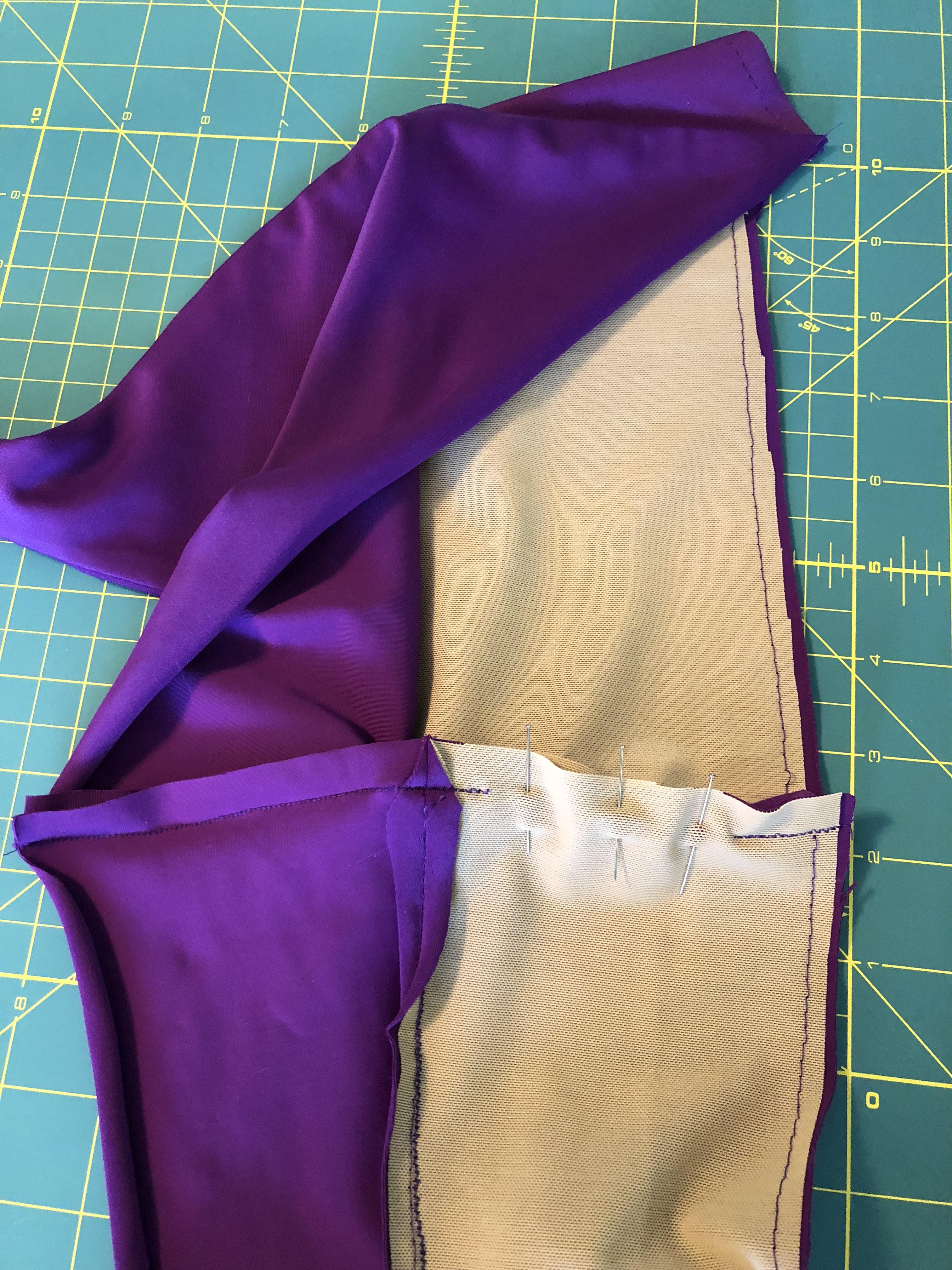 side seam sewn pinned